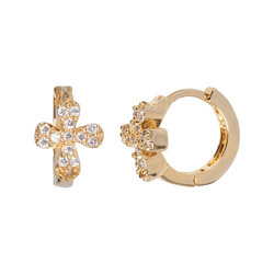 Babs Tilly Gold Vermeil And Cz Cross Earrings