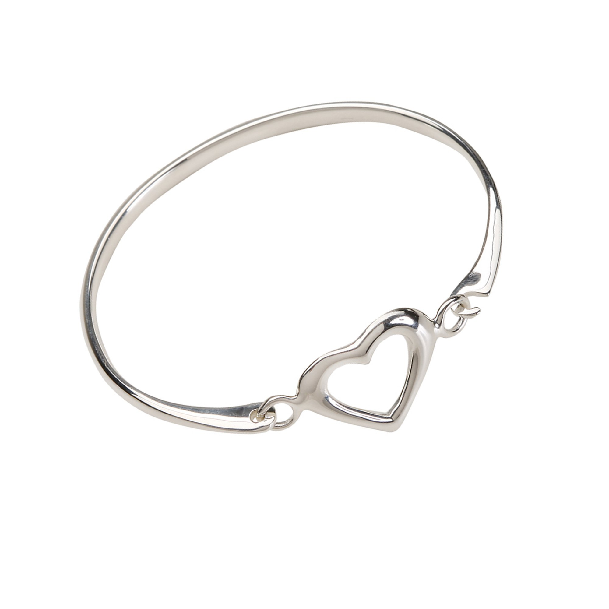 bracelet silver sterling heart accent bangles in and p bangle v diamond