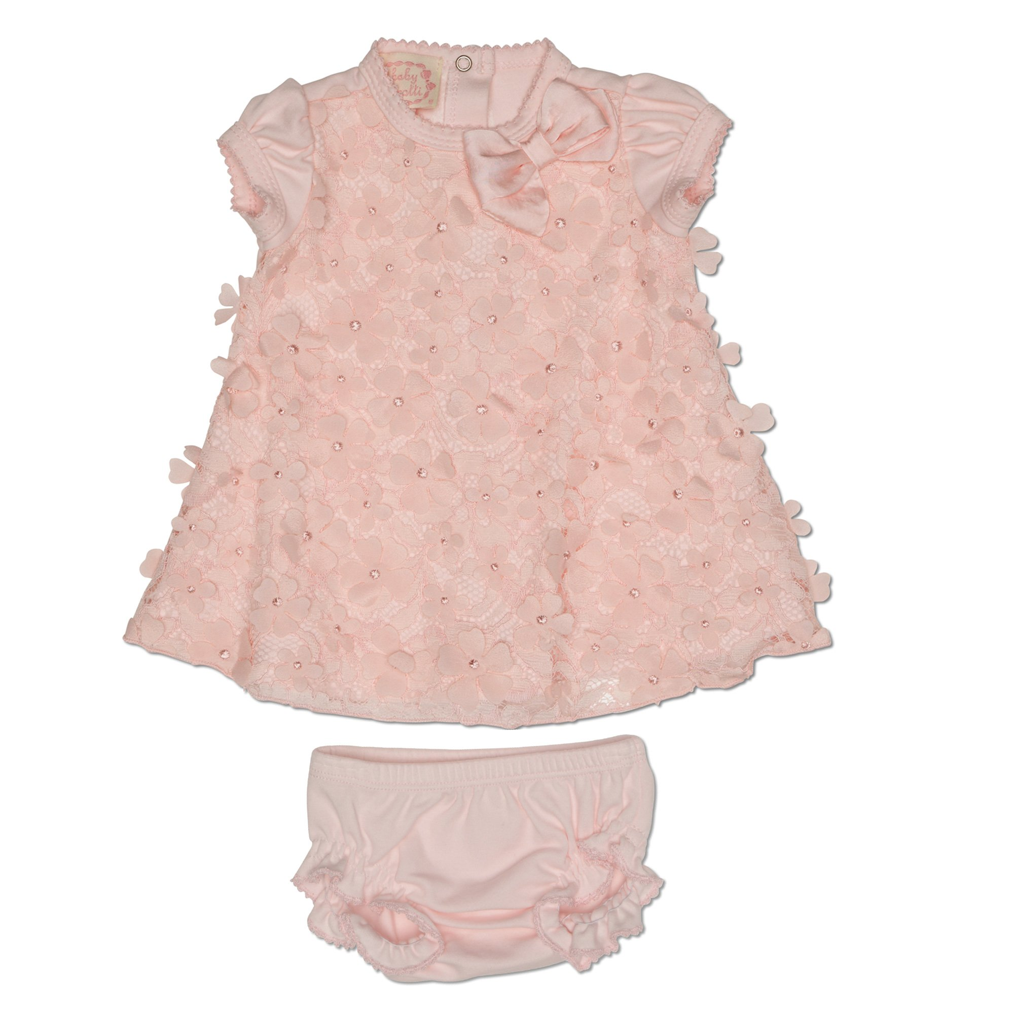 Baby Biscotti Pretty Posies 2 Pc Dress And Diaper Cover Set