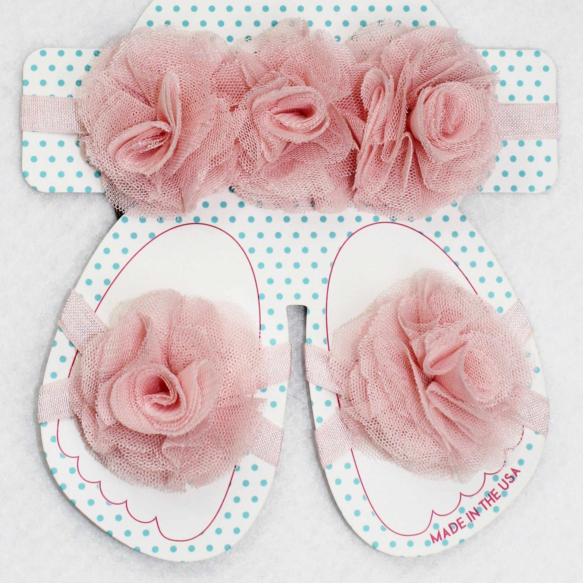 Beyond Creations Light Pink Tulle Flowers Headband and Sandal Set e4f82058f1b