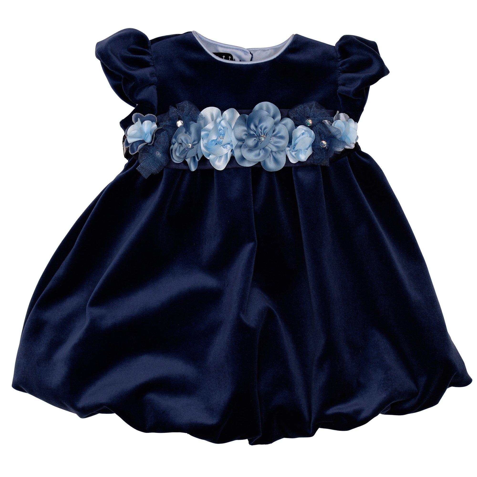 Biscotti Winter Blooms Baby Dress Navy Blue