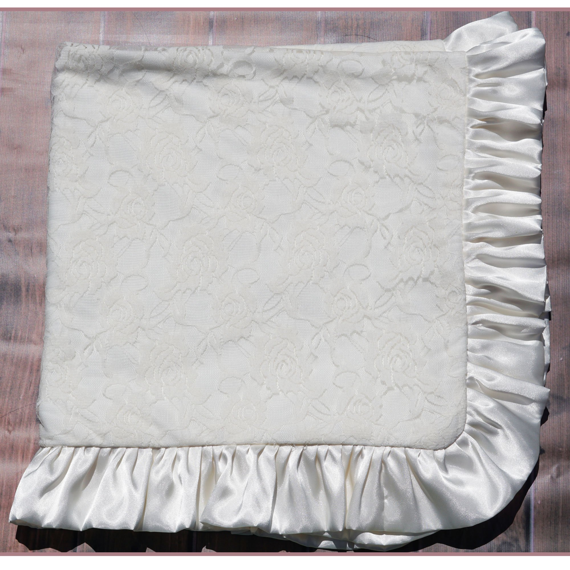 Cuddle Couture Ivory Lace Blanket With Ivory Satin Trim