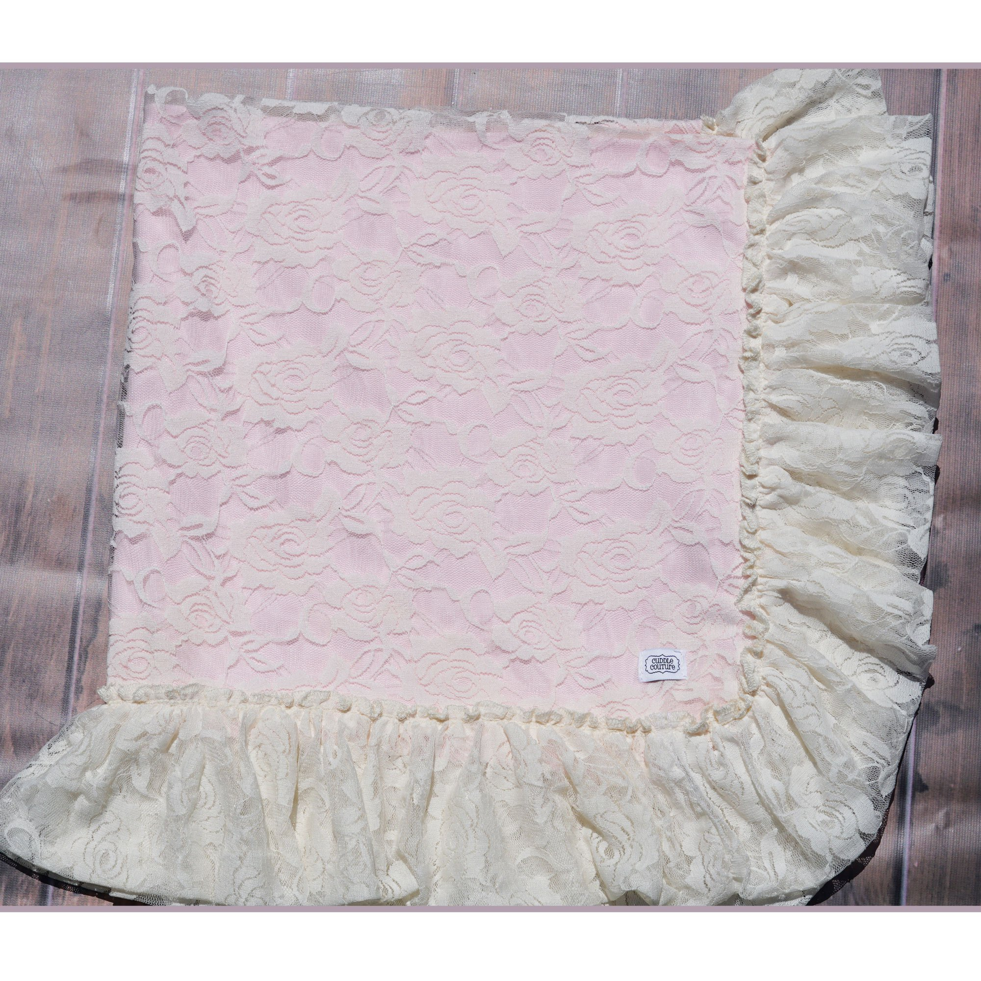 Cuddle Couture Vintage Lace Pink And Ivory Blanket
