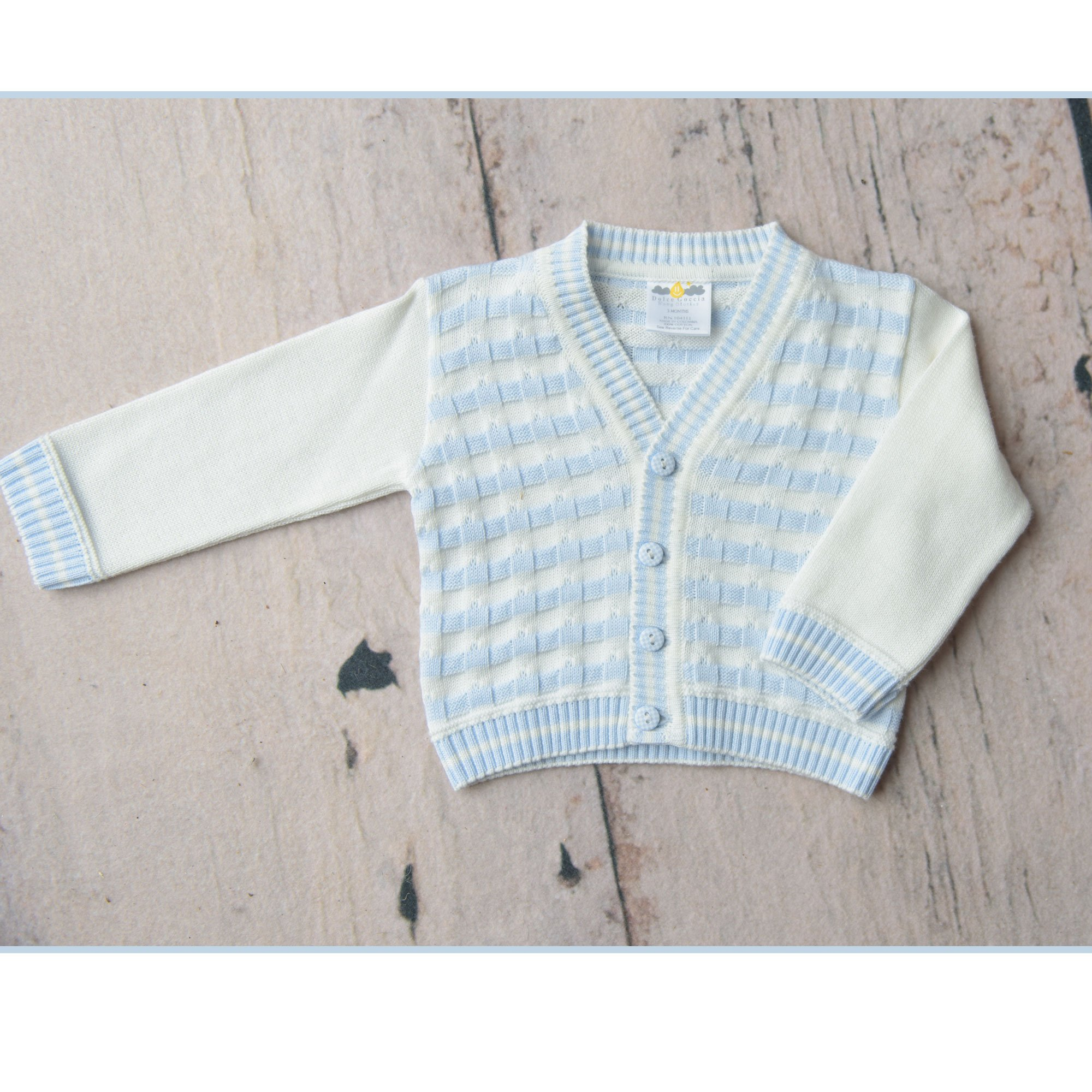 fb6733c8ebe7 Dolce Goccia Blue and White Liam Knit Cardigan for Baby Boys