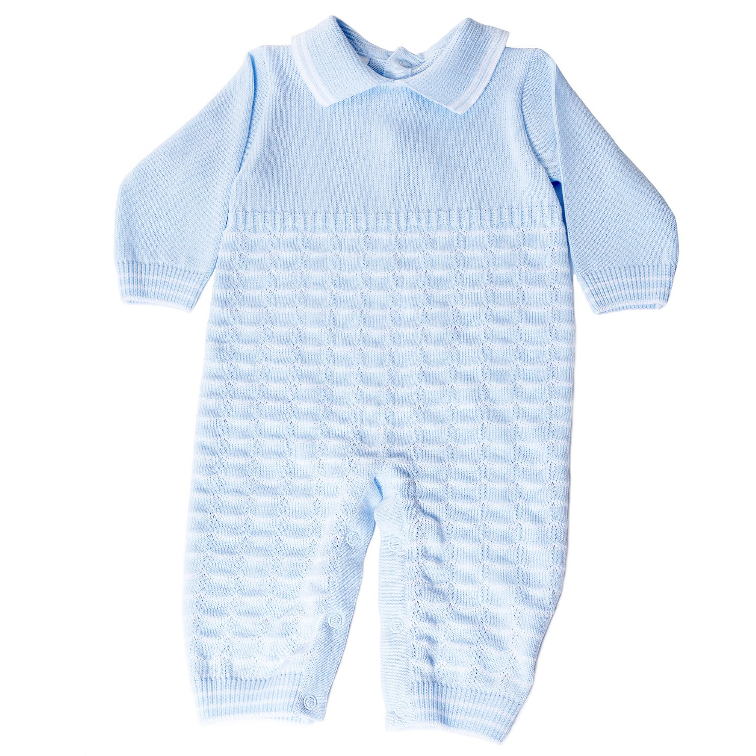 aa54f06d9 Dolce Goccia Blue and White Noah Knit Romper for Baby Boys