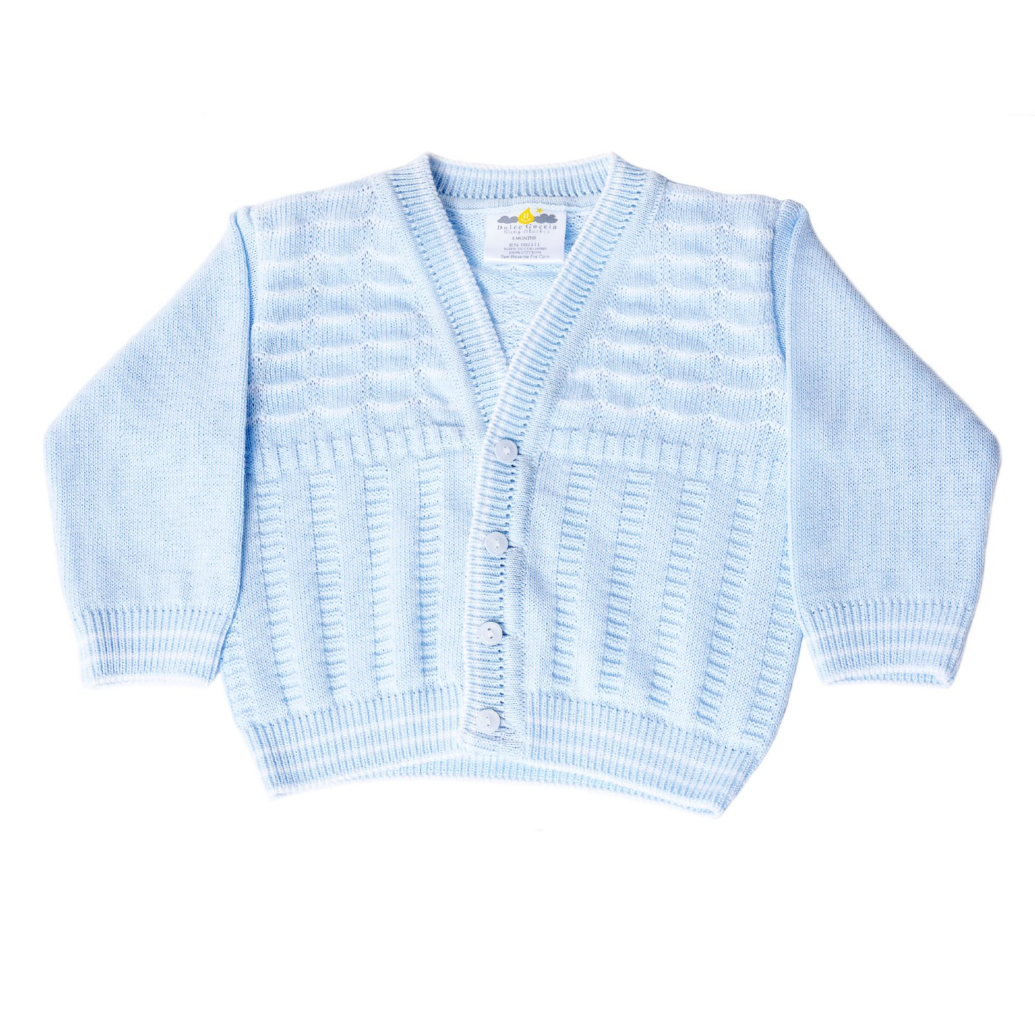 e5170b5c7ca1 Dolce Goccia Blue and White Noah Knit Cardigan for Baby Boys