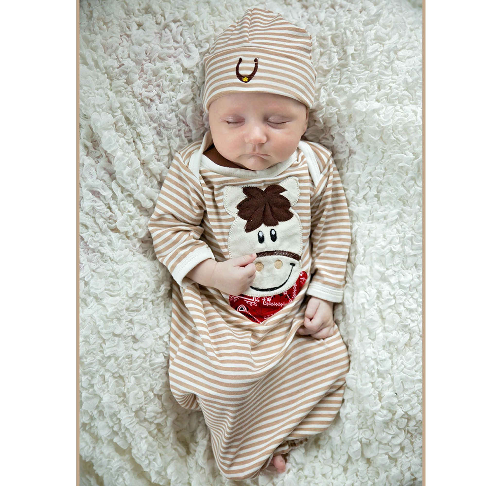 Haute Baby Giddy Up Newborn Gown for Baby Boys