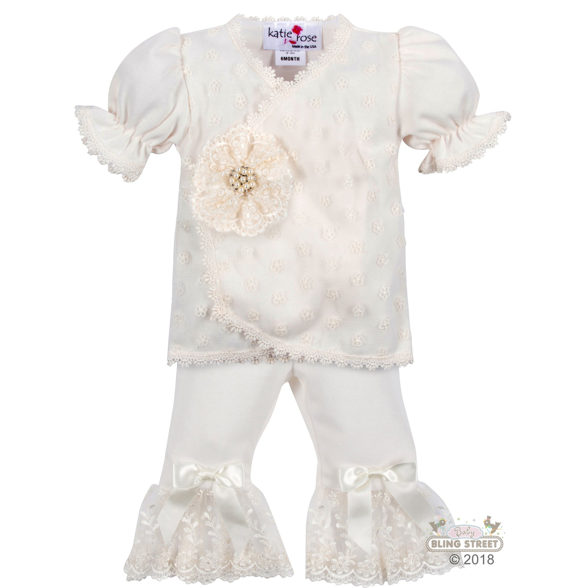 5b5258725154 Katie Rose Lace Lee Ann Romper Dress for Newborn and Baby Girls