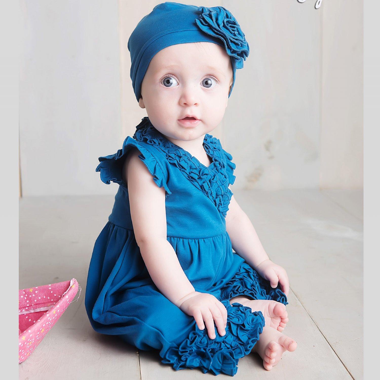 7b50907f8 Lemon Loves Layette Ava Romper for Baby Girls in Seaport Blue