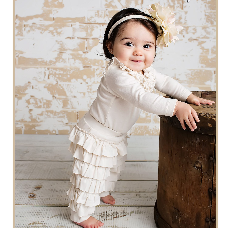 Lemon Loves Layette Ella Eggnog Ruffled Pants for Baby
