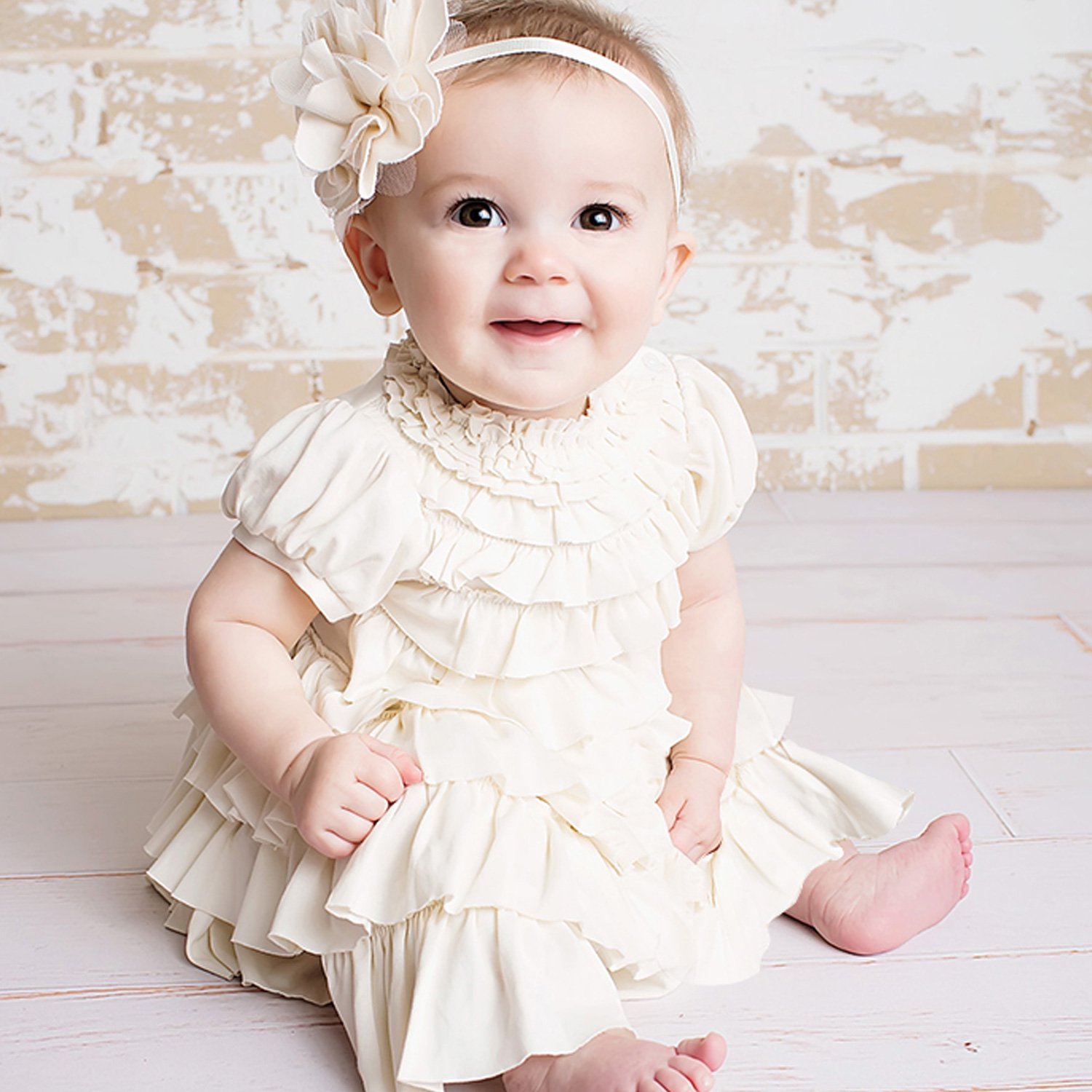 Baby Girl Christmas Dress in Eggnog | Baby Bling Street Baby Fashion Boutique