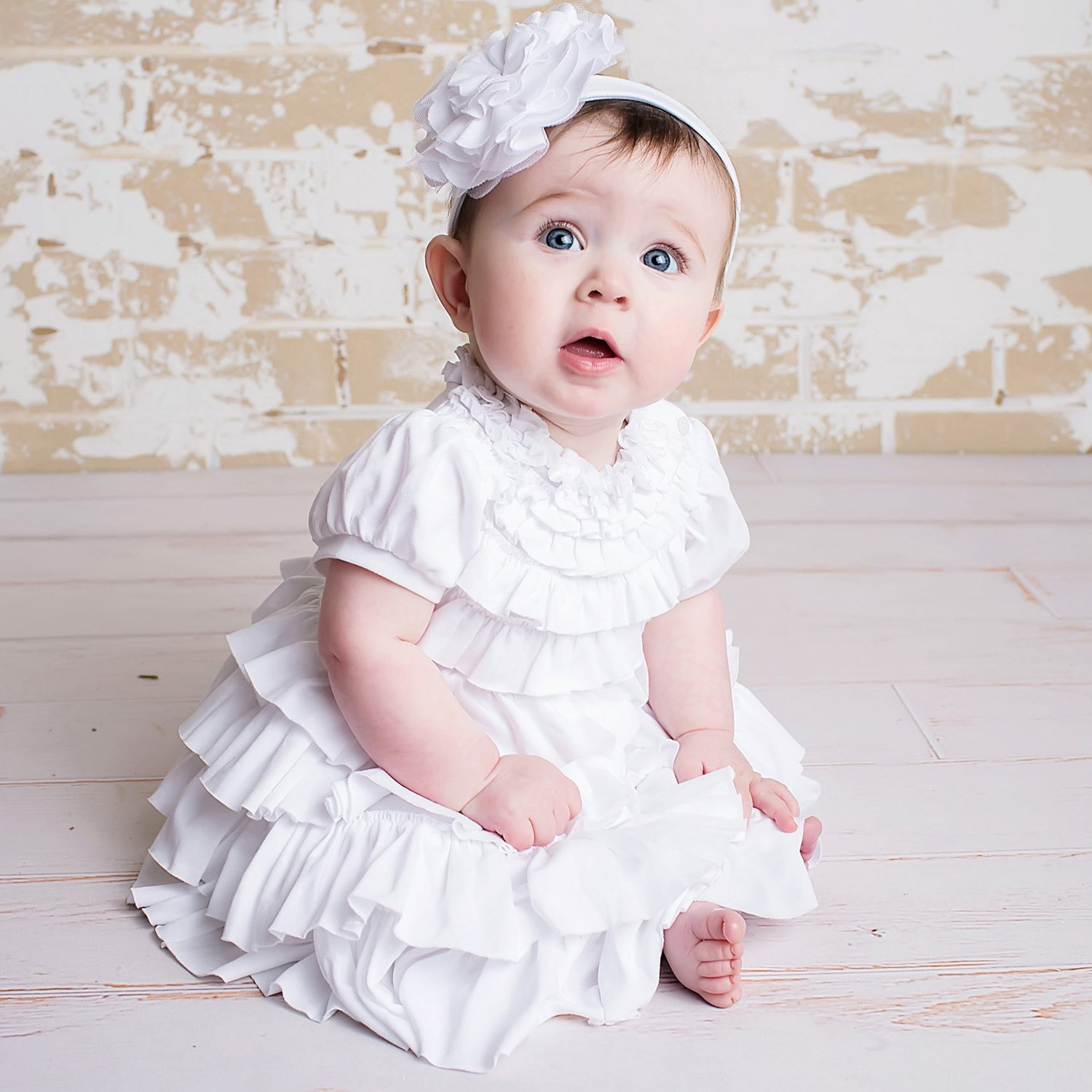 Lemon Loves Layette Jane Ruffled White Baby Dress