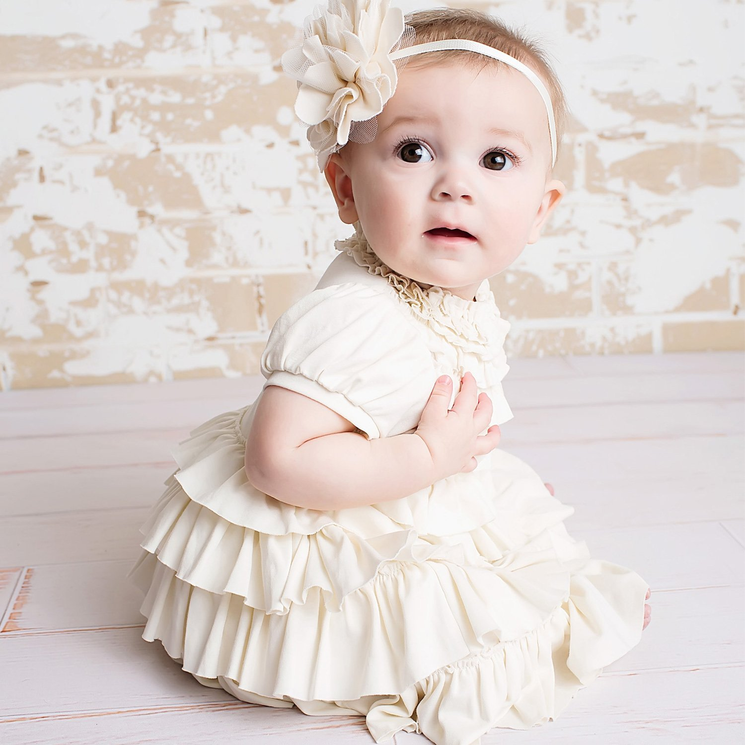 Lemon Loves Layette Jane Ruffled Baby Dress in Eggnog