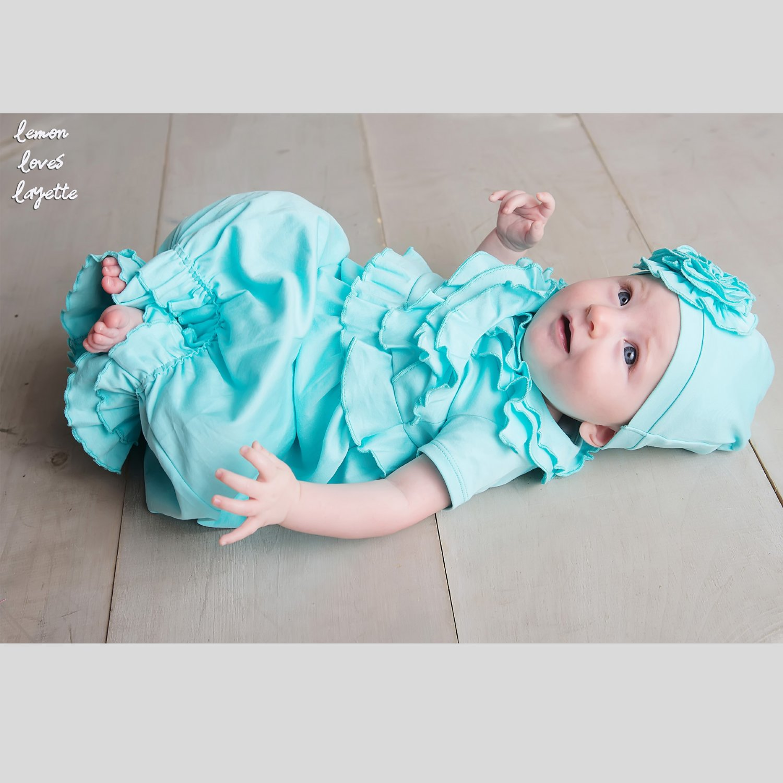 Lemon Loves Layette Julia Newborn Gown for Baby Girls in Blue Tint
