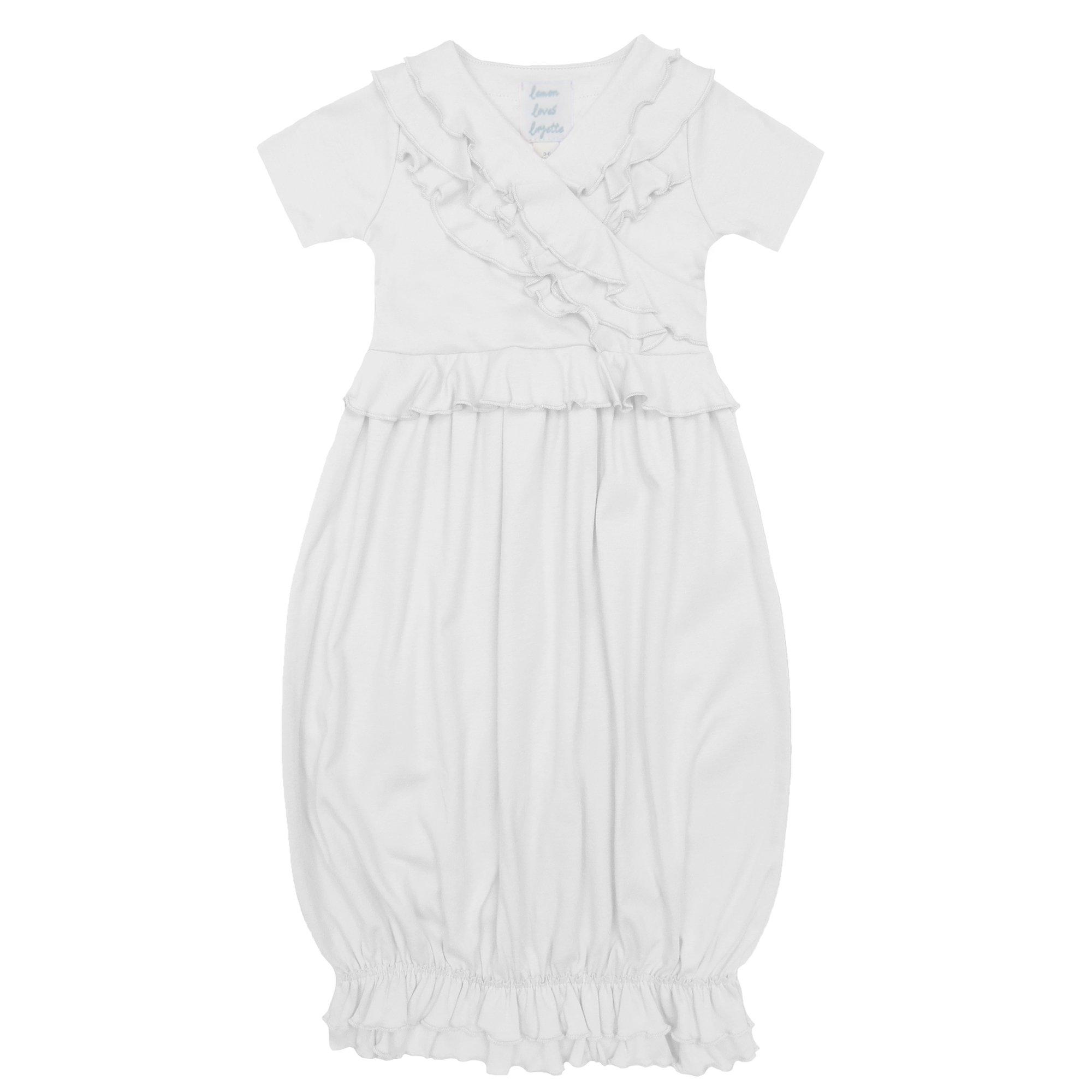 Lemon Loves Layette Julia Baby Gown in White