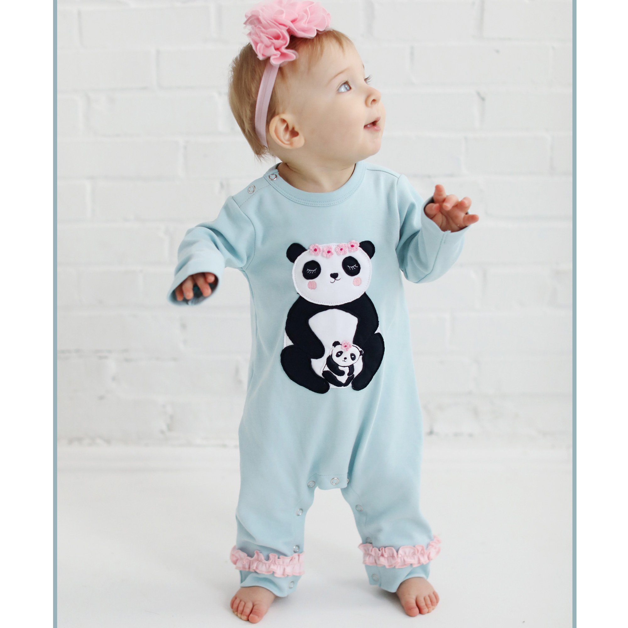 Lemon Loves Layette Panda Romper for Baby Girls