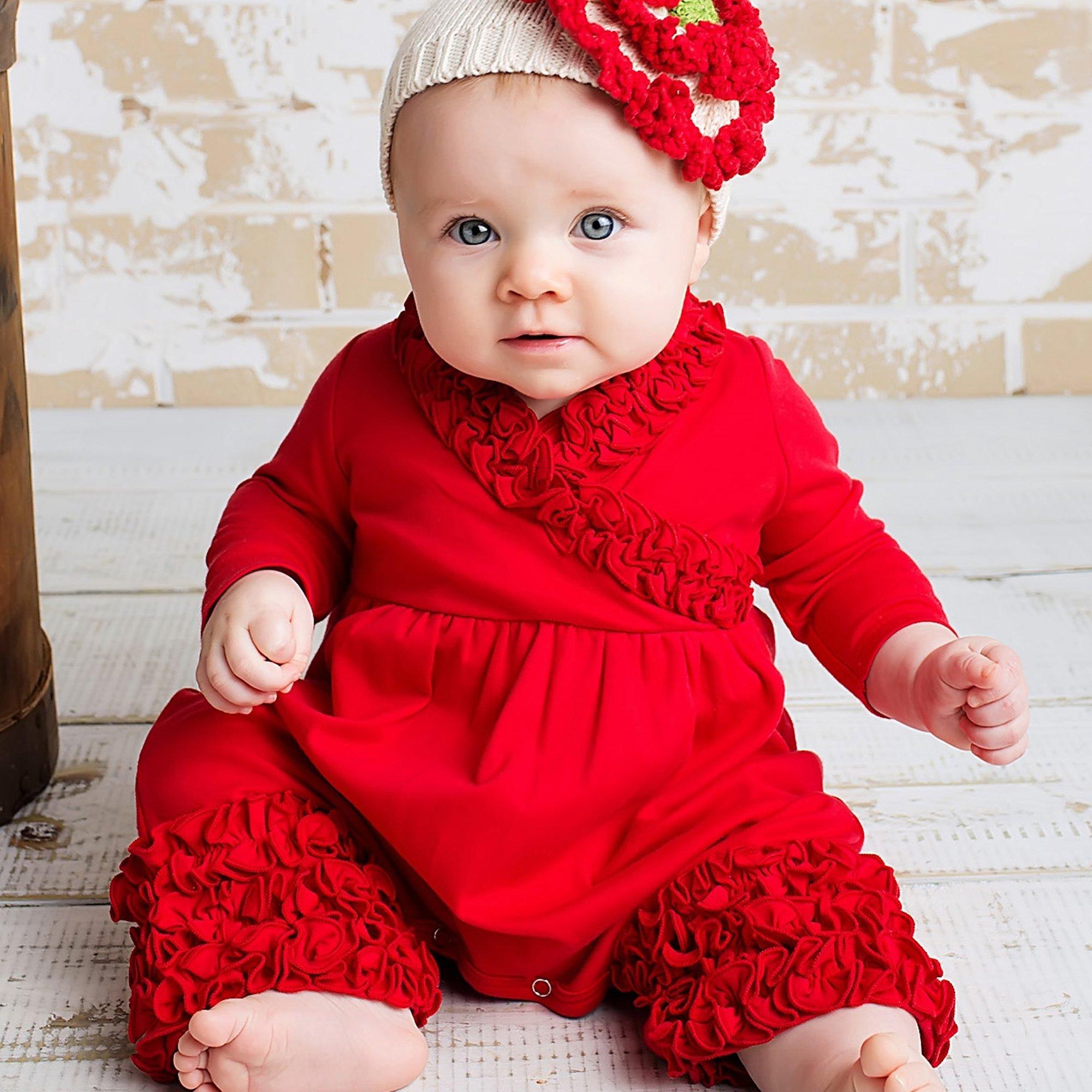 f91edbba7 Holiday Red Baby Romper - Lemon Loves Layette