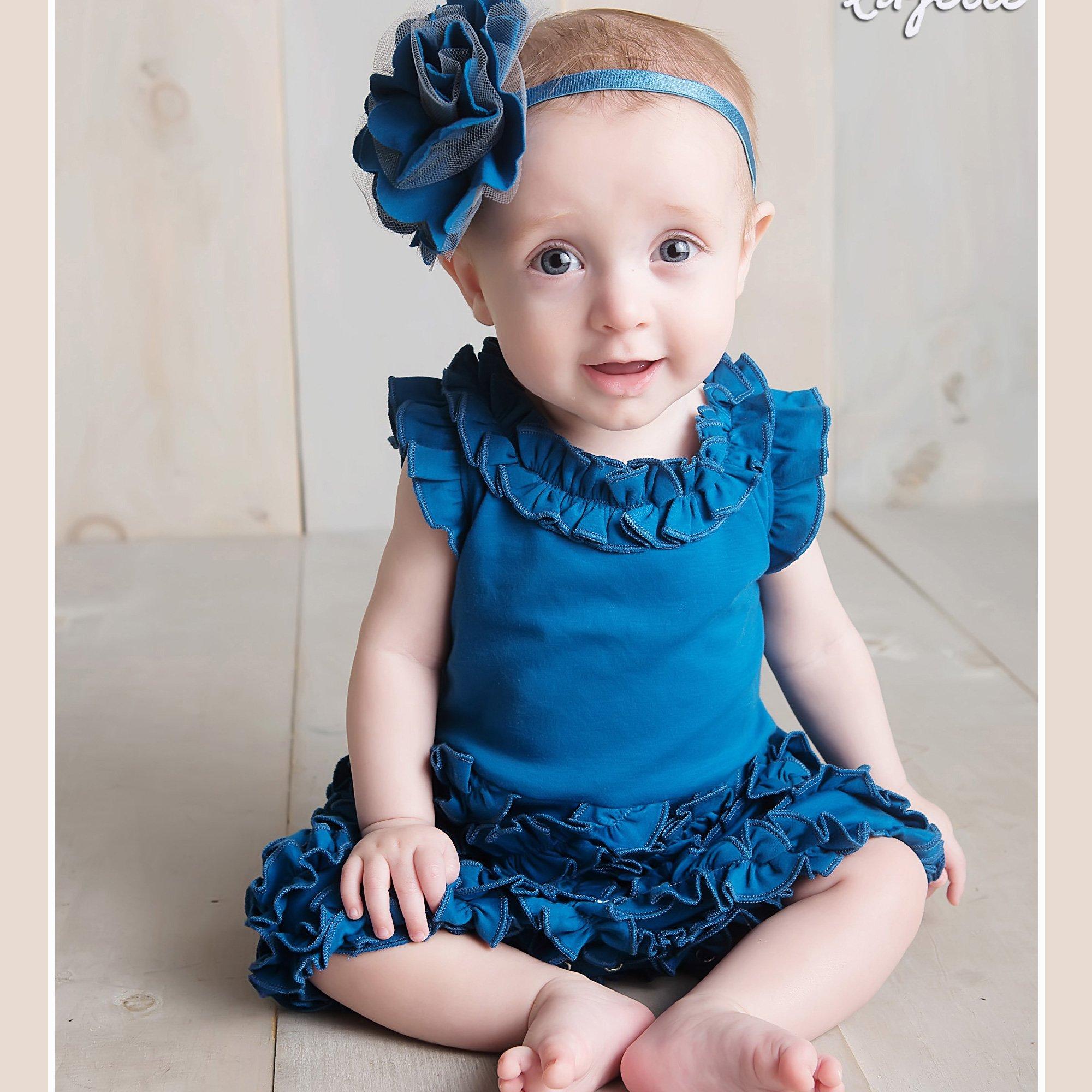 Lemon Loves Layette Rula Romper for Baby Girls in Seaport Blue