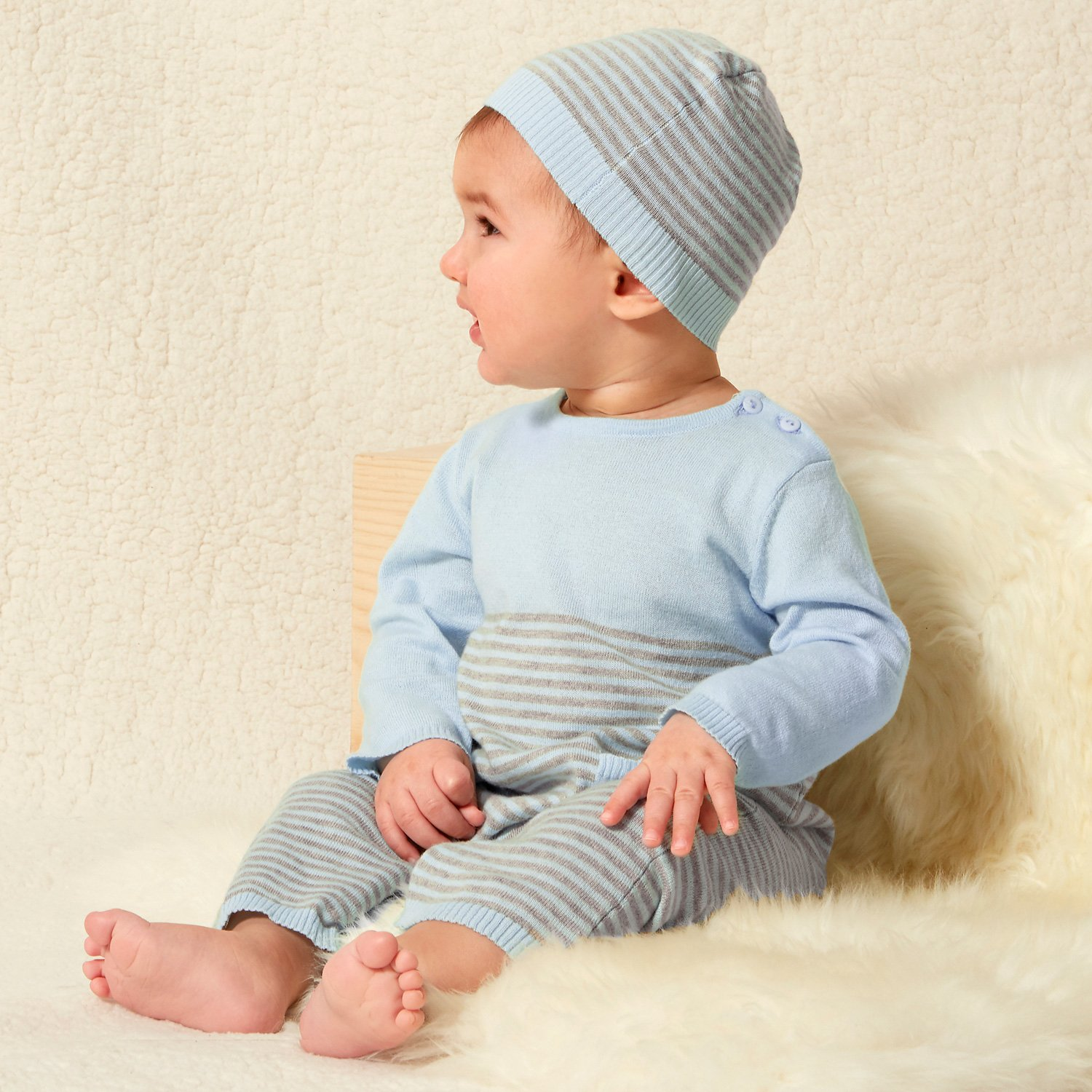 Le Top Bébé Cuddle Up Stripe Sweater Romper for Newborns and Baby Boys