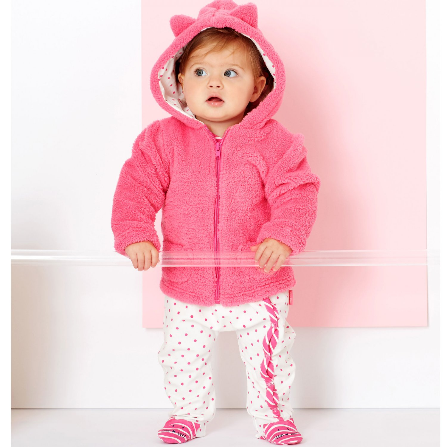 Le Top Miss Kitty Plush Hooded Jacket-Pink