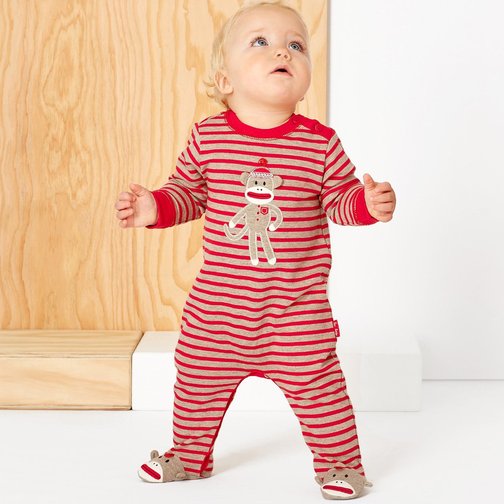 Le Top Silly Monkey Footed Romper for Baby Boys