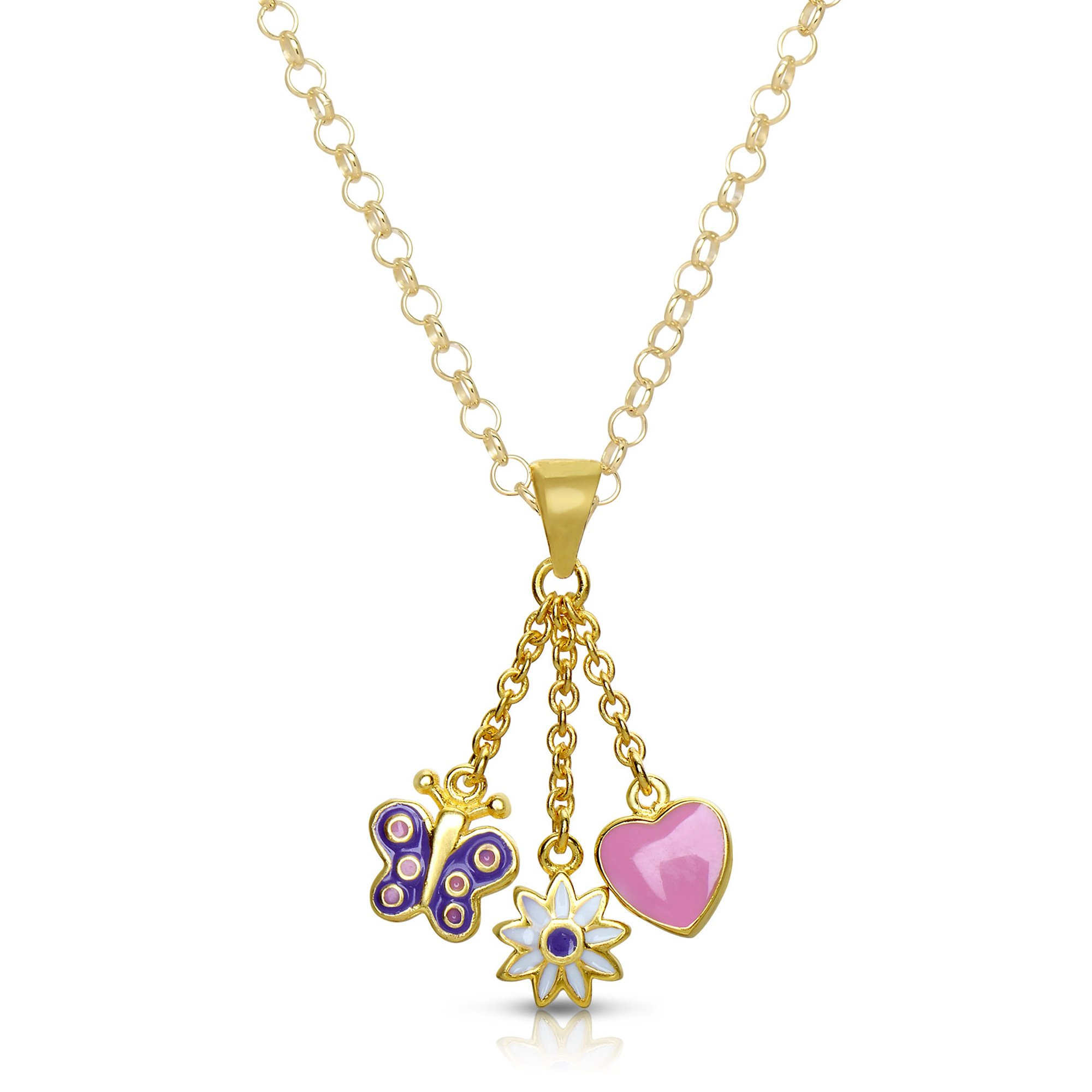 Necklace for Girls Gold Plated w// Purple Enamel By Lily Nily Princess Dress Necklace
