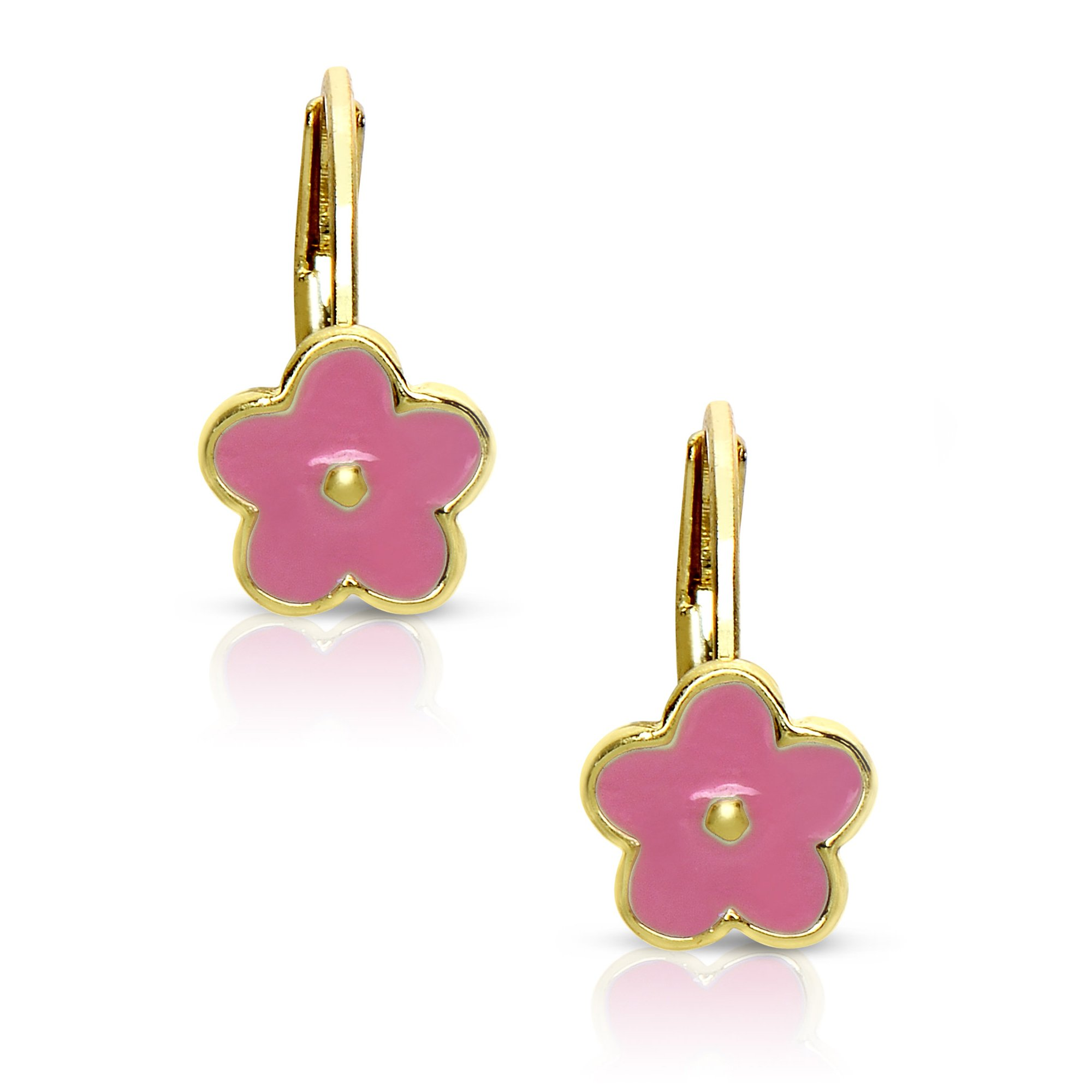 Lily Nily Pink Flower Lever Back Earrings