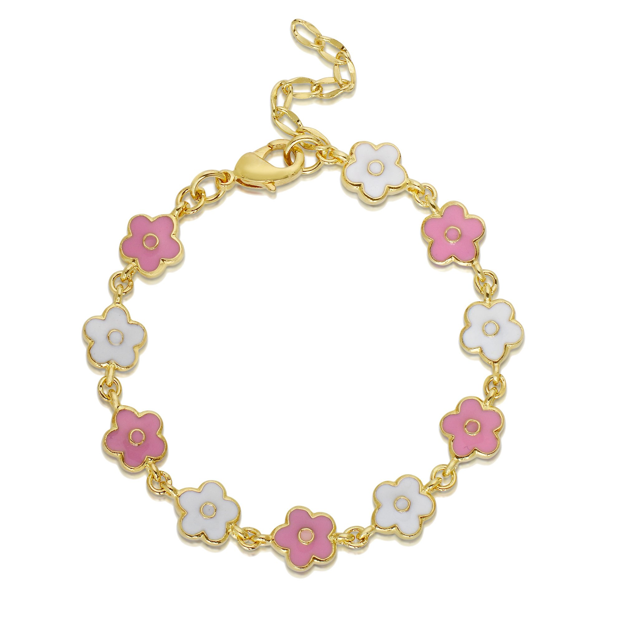 Nily Pink and White Flower Link Bracelet for Little Girls