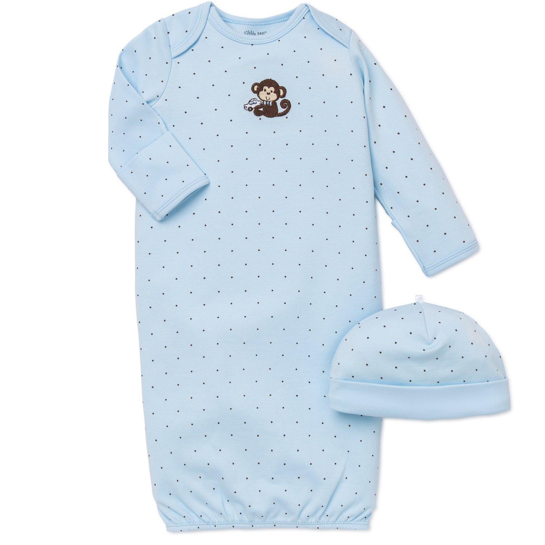 Little Me Monkey Star Newborn Gown and Hat Set