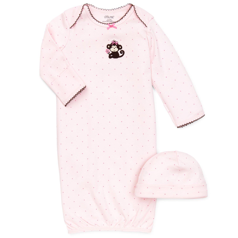 Little Me Pretty Monkey Newborn Gown and Hat Set