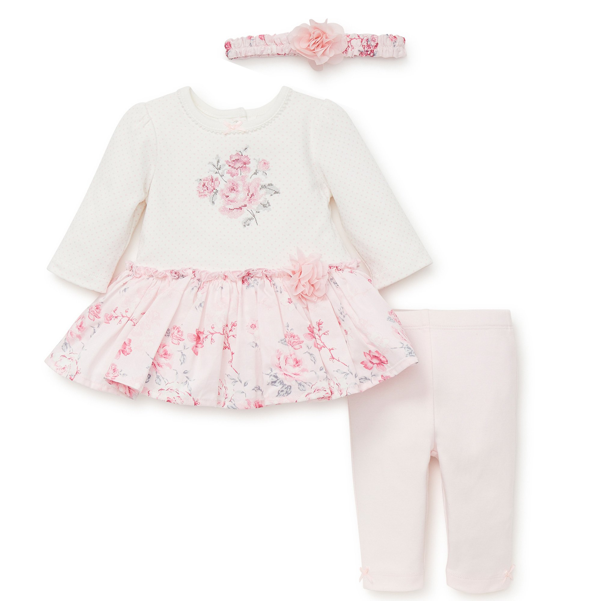 277d4b974 Little Me Lyla 3-Pc. Rose Floral Tunic and Legging Set for Baby Girls