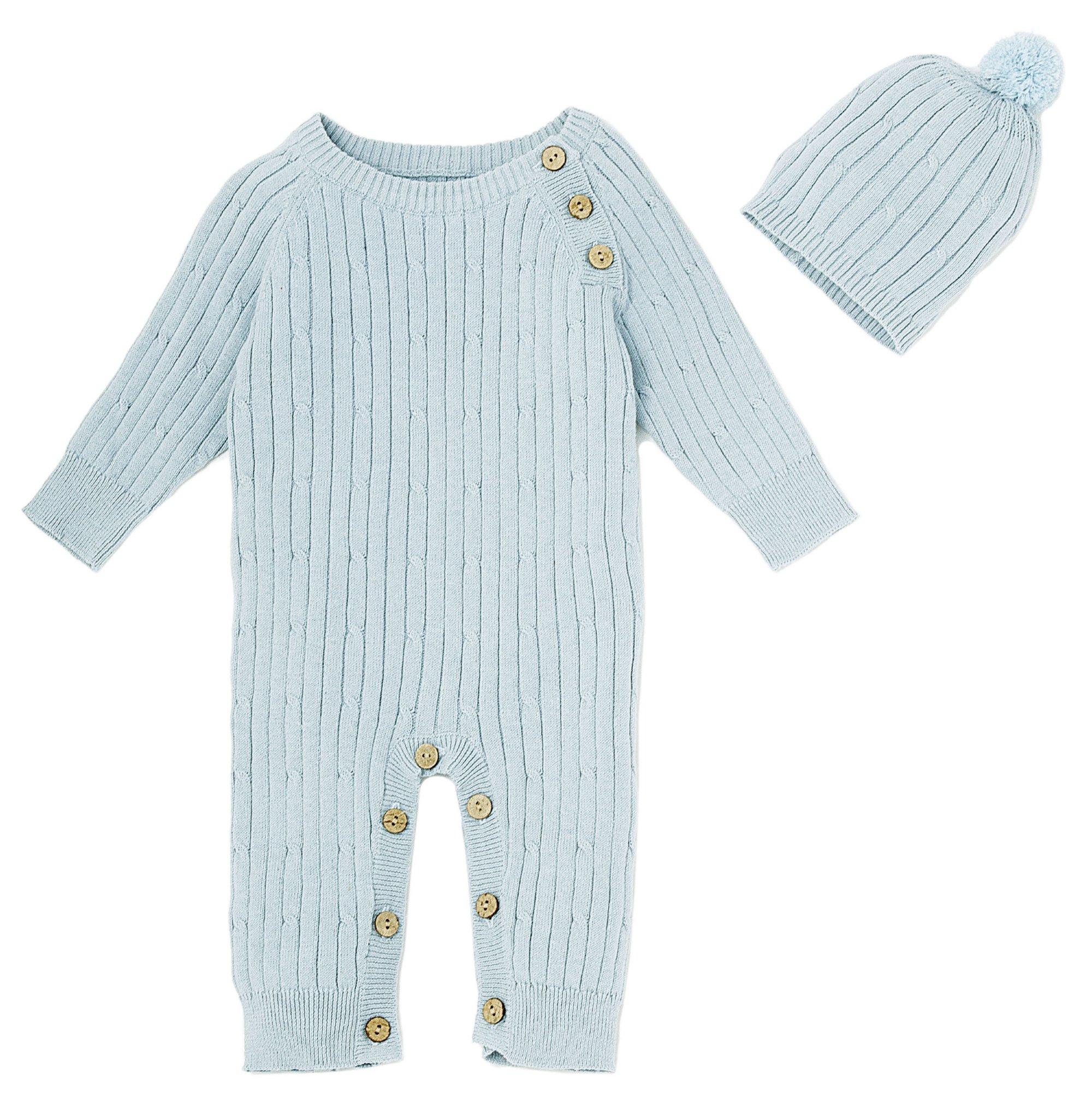 4ff0cb415 Le Top Bébé Little Boy Blue Cable Knit Romper and Hat Set for ...