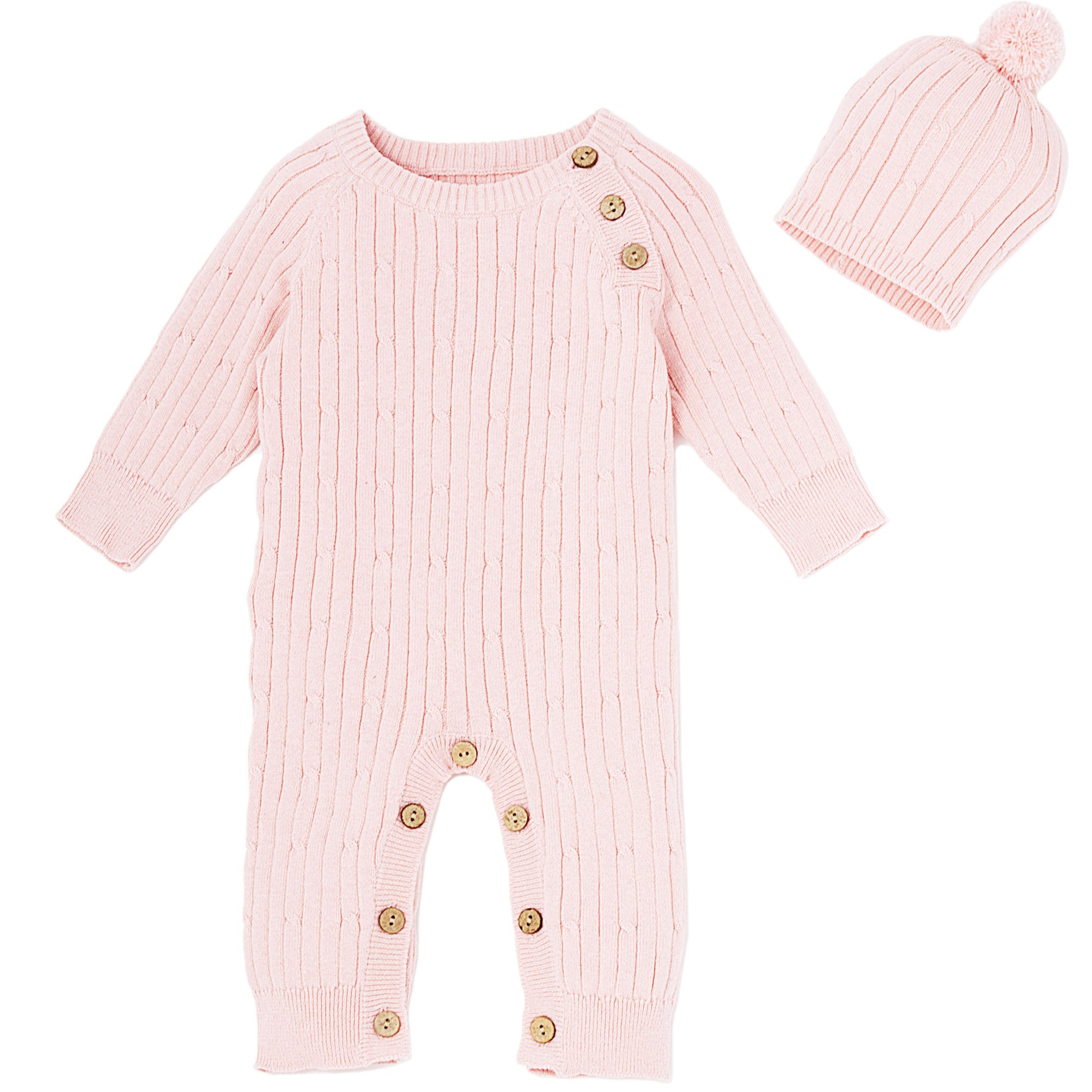323da1c1e Le Top Bébé Pretty in Pink Cable Knit Romper and Hat Set for Newborn and  Baby Girls