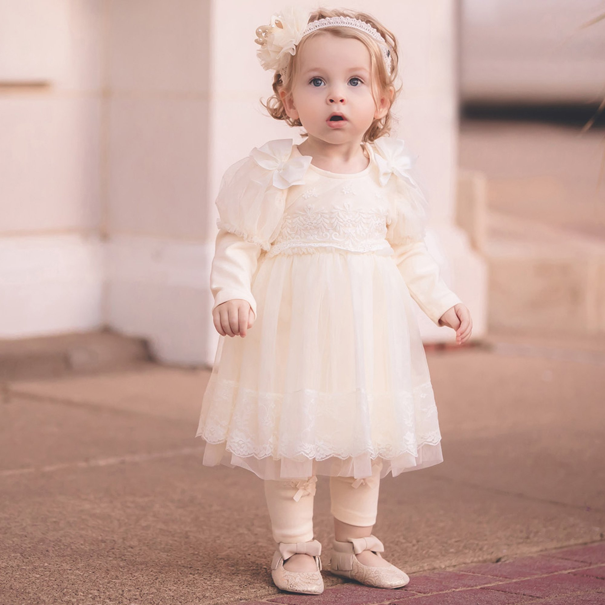 Mae Li Rose Ivory Lace and Bow Tunic Dress for Baby Girls