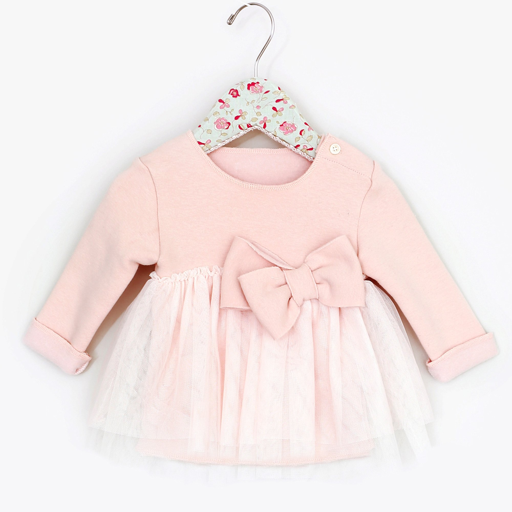 94274fc5a945d7 Mae Li Rose Lily Lace and Bow 2 pc. Tunic and Legging Set in Peach