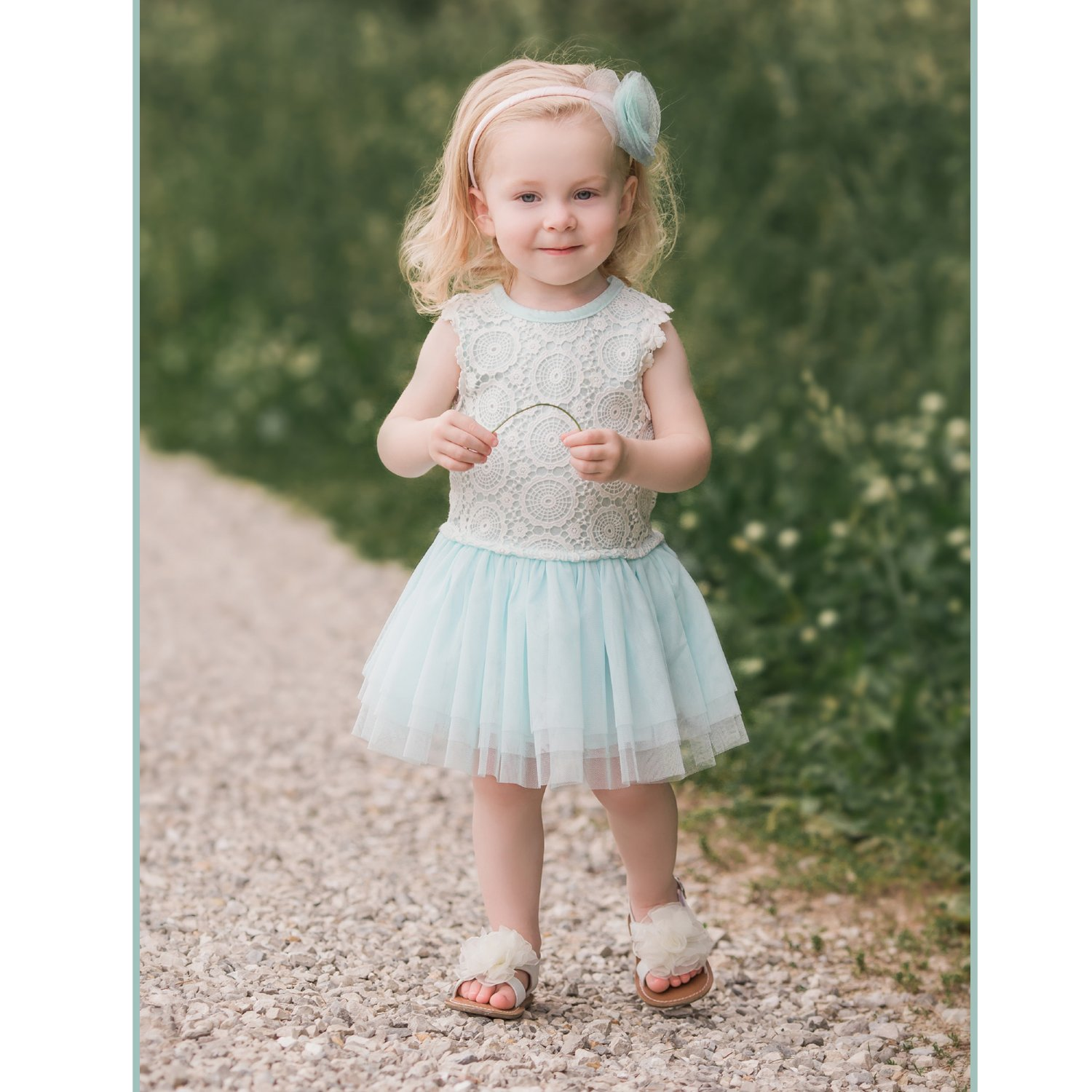 Mae Li Rose Aqua Lace And Tulle Dress For Toddlers