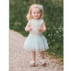 bf6cc9a6a946c1 Mae Li Rose Aqua Lace and Tulle Dress for Toddlers