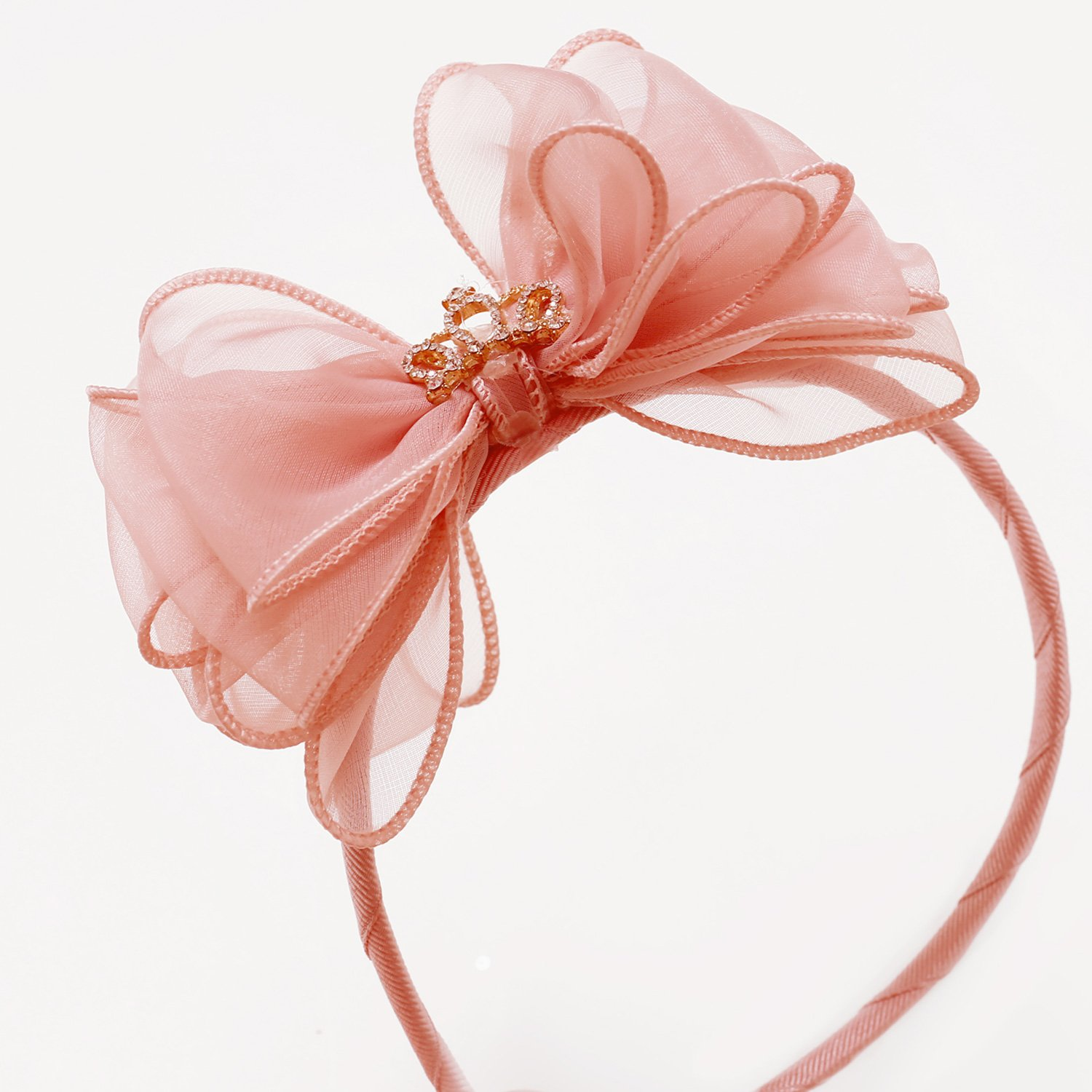 Mae Li Rose Tiara Bow Headband in Blush Color 71b4dd5f7da