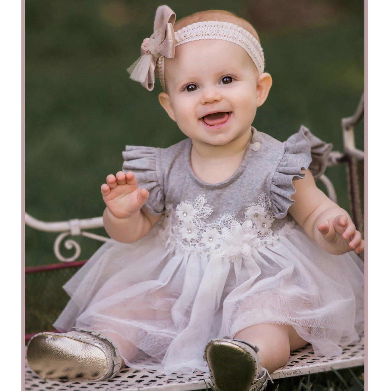 3c2c206c5 Mae Li Rose Soft Peach Lacey Neckline Onesie for Baby Girls