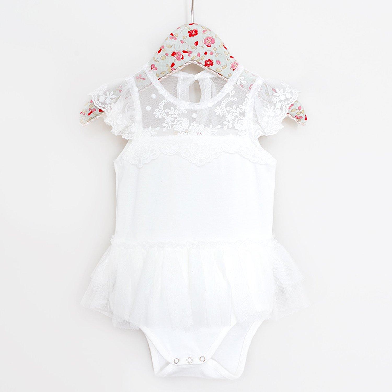 dfff1c679 Mae Li Rose Soft Peach Lacey Neckline Onesie for Baby Girls