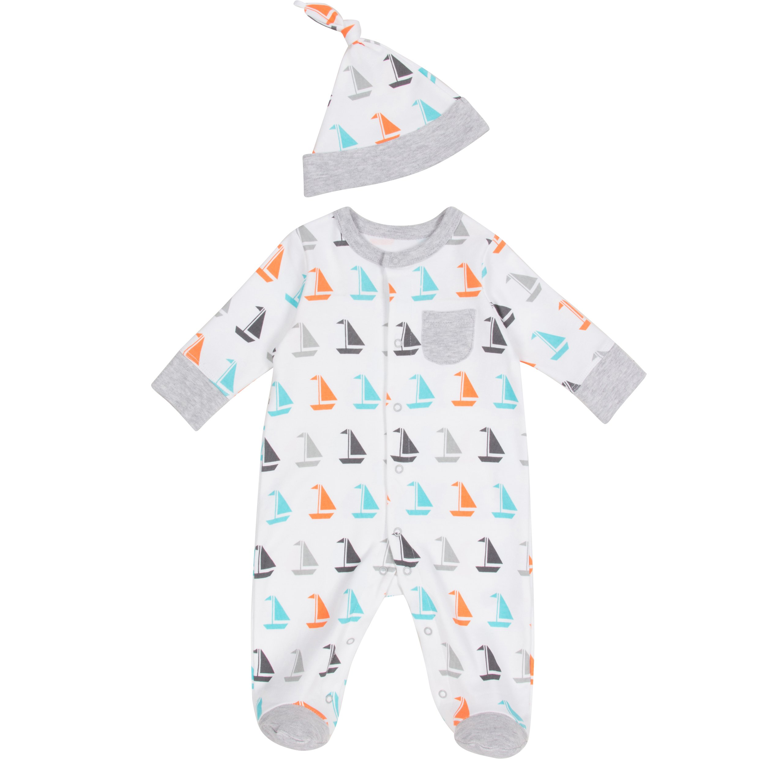 Offspring-Baby Boy Footie (0-9 mos) -Sailboat