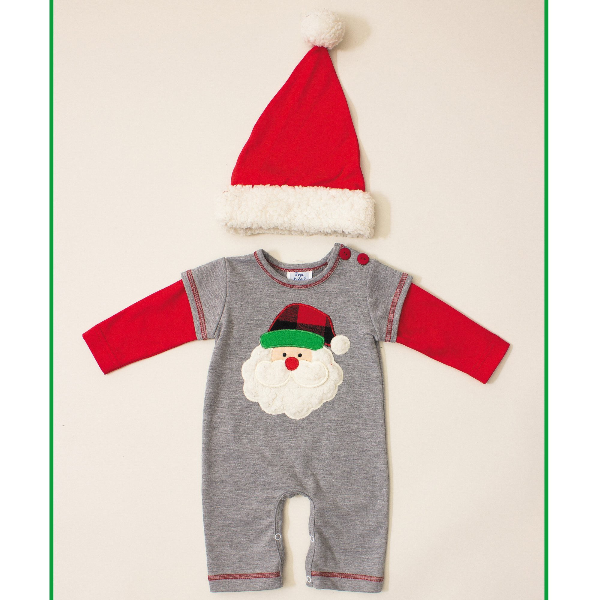 Holiday Santa Romper for Baby Boys Peaches n Cream