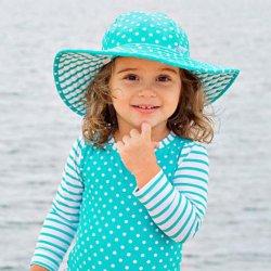 b420dec18 Ruffle Butts Aqua Polka Dot & Stripe Reversible Swim Hat