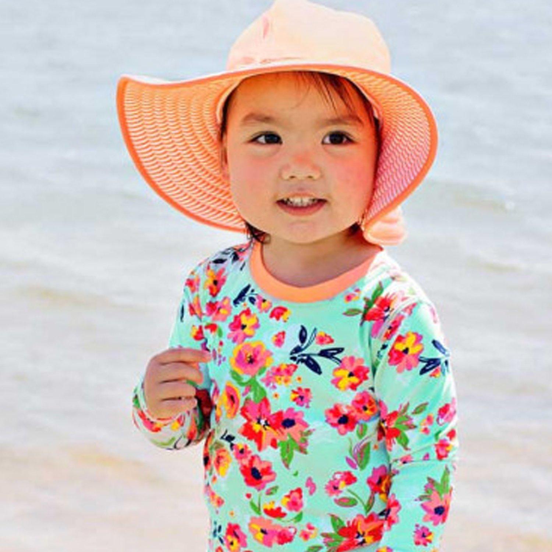 283f8d8e8 Ruffle Butts Coral Stripe Reversible Swim Protective Hat