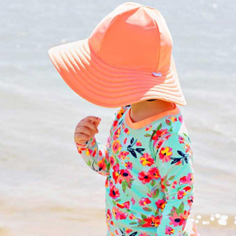 b7b6ebdec89 Ruffle Butts Coral Stripe Reversible Swim Protective Hat