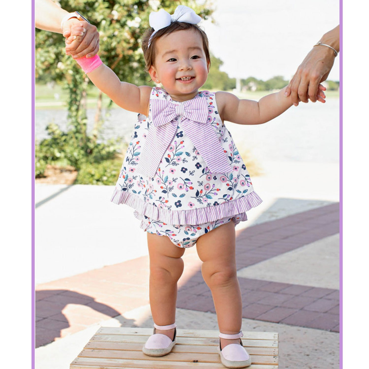 Ruffle butts life is rosy swing top and diaper cover set for baby girls