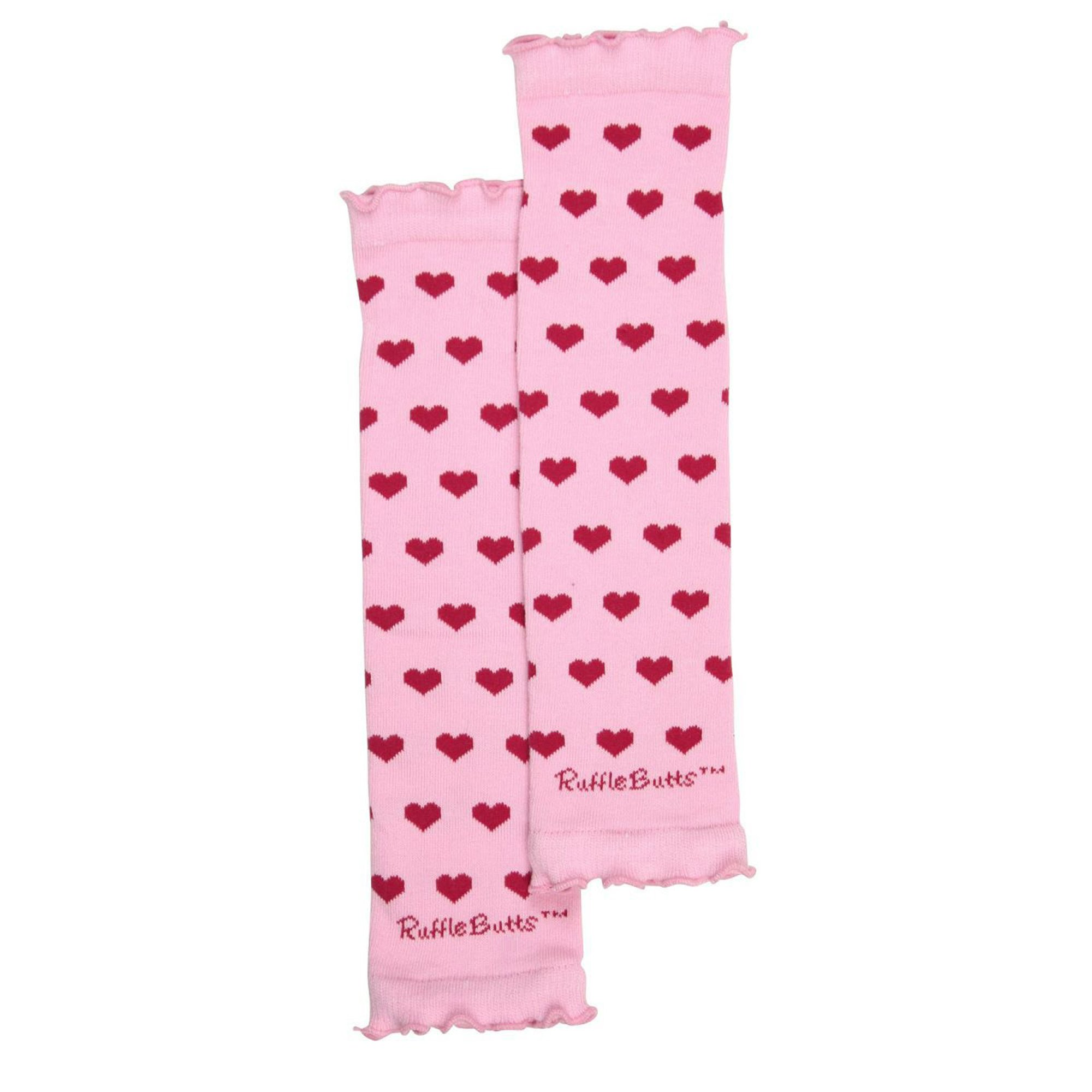 398b9781d217 Ruffle Butts Pink with Fuchsia Hearts Leg Warmers