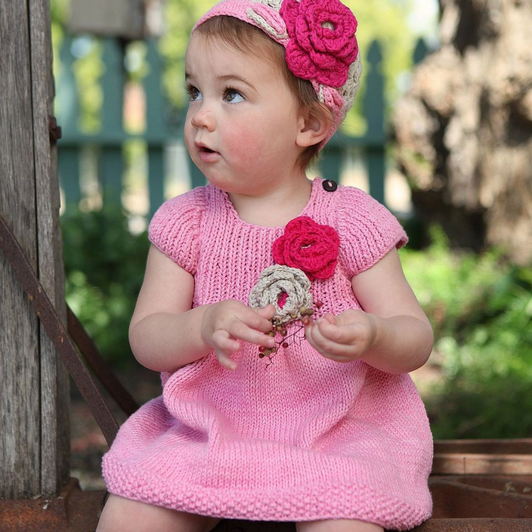 Ruffle Butts Pink Handmade Knit Dress for Babies and Toddlers