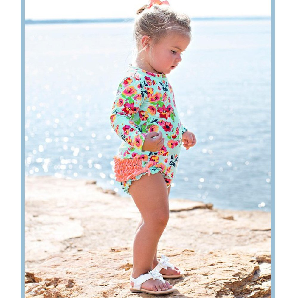 1ecf0153af Ruffle Butts Painted Flowers Ruffled Rash Guard Swim Suit