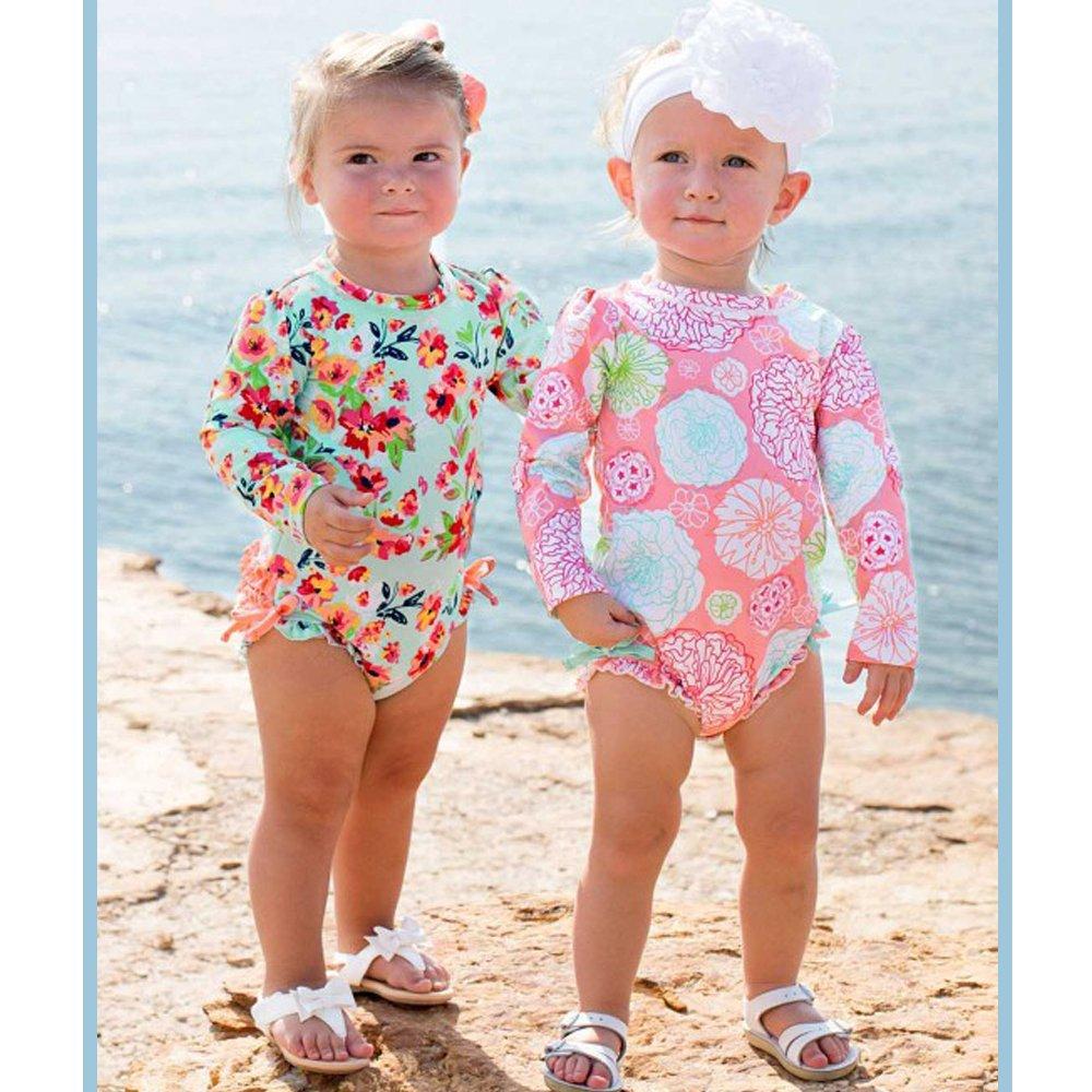 Baby Little Girl Polka Dot Ruffle Sleeve One Piece Bathing Suit Swimwear Rash Guard